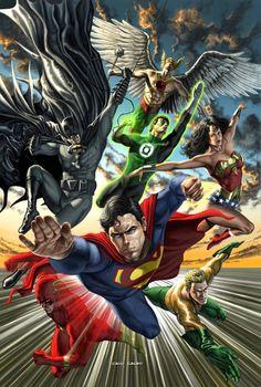Justice League: Hawkman, Batman, Green Lantern, Wonder Woman, Superman, Flash, and Aquaman