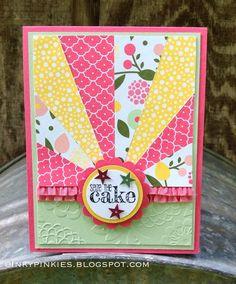 InkyPinkies: Starburst / Sunburst Cards - Birthday & Thank You. Stampin' Up!, Something to Say stamp set.