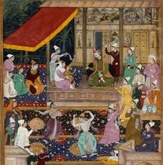 The child Akbar recognizes his mother at Kabul in 1545. This scene, from the Akbarnāmah, takes place in the women's quarters. Ascribed to Madhu with principal portraits painted by Narsigh, 1602-3.