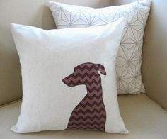 Modern Whippet Dog Silhouette Pillow Cover-Oatmeal Fleck & Chocolate Brown Tonal Chevron Applique 20 x 20- MADE TO ORDER