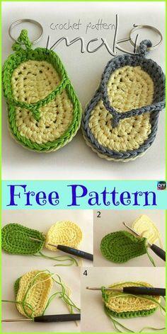 New crochet keychain flipflop ideas Chunky Crochet, Cute Crochet, Beautiful Crochet, Crochet Crafts, Crochet Baby, Crochet Projects, Sewing Crafts, Crochet Shark, Crochet Crocodile Stitch