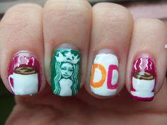 Starbucks/Dunkin' Donuts Coffee Nails