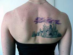 (Tat on: Rachel S. Forbes, ink by: Rene Botha at Liquid Amber Tattoo) Rain Cloud Tattoos, Beautiful Tattoos, Cool Tattoos, Vancouver Tattoo Artists, Vancouver Skyline, Skyline Tattoo, Island Tattoo, Autumn Tattoo, Landscape Tattoo