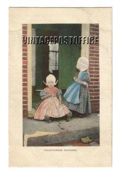 Volendam children vintage postcard van vintagepostoffice op Etsy