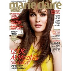 Leighton Meester talks about her tough childhood with Marie Claire,... ❤ liked on Polyvore featuring magazine and magazine cover