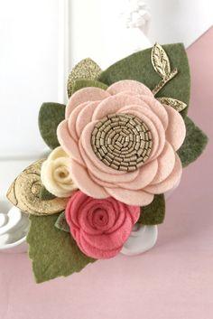 Felt Flower Crown. Peach Floral Crown Headband. Floral Crown
