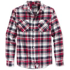Retrofit Men's Plaid Flannel Long-Sleeve Shirt ($20) ❤ liked on Polyvore featuring men's fashion, men's clothing, men's shirts, men's casual shirts, men, tops, shirts, guys, red and mens red tartan shirt