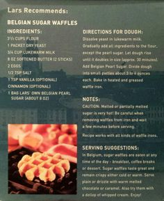 Liège Waffles recipe from Lars' Own Belgian Pearl Sugar box
