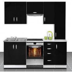 Cuisine otylia noire 220 cm, plans de travail inclus. Plus d'infos sur http://www.on-dstock.com/1180-thickbox_fbr/cuisine-otylia-220-cm.jpg