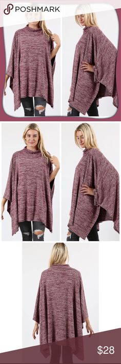 """Burgundy Poncho Sweater Super soft and comfy burgundy poncho sweater. Poncho is lighter than a heavy sweater. Material is a poly/rayon/spandex blend (see pic of tag for percentages). Poncho is one size with an asymmetrical hem. Down the middle from neck to hem is 28"""". Zenana Outfitters Sweaters Shrugs & Ponchos"""