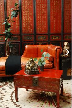 Chinese Interior Asian Red Interiors Furniture Decor Silk Style The Chaise Lounges Stamping