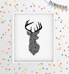 Deer art, deer illustration, deer antler, deer head, deer artwork, black and…