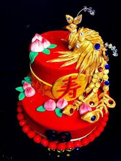 This Chinese Birthday Cake is packed with decorations made from