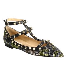 Valentino Camouflage Crystal-Coated Leather Ballet Flats - ShopBAZAAR