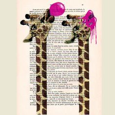 Giraffe with bubblegum- ORIGINAL ARTWORK Hand Painted Mixed Media on 1920 famous Parisien Magazine 'La Petit Illustration' by Coco De Paris.