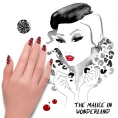 Get this malice in wonderland look with #FormulaX Nail Cleanser, Base Coat, Pyrotechnic, Chaotic, and Top Coat. Read more on the #Sephora #Glossy! #SephoraNailspotting #Halloween #SephoraSelfie