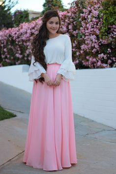 Our Nora maxi in blush is here! Pair it with our Emily top for an adorable combo!