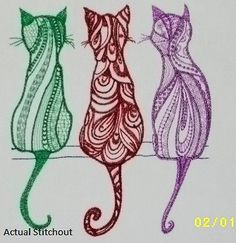 CAT TRIO SPECIALTY Stitching Feline Fancy Your Colors 2 Sizes