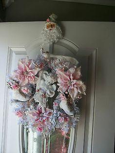 shabby vintage cherub rose, ICE Skate & poinsettia christmas wreath w/ holder