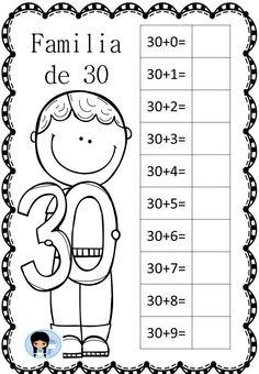 abn-vamos-a-trabajar-las-familias-de-numeros7 1st Grade Math, First Grade, Preschool Painting, School Worksheets, 1st Grade Writing Worksheets, School Items, Classroom Language, Math For Kids, Math Lessons