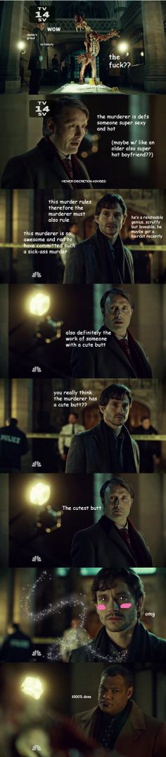 I laughed so hard I had trouble breathing afterwards. Hannigram fans aren't vaguely shy.