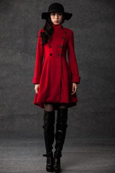 winter coats for women red cashmere jacket