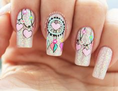 Pink love heart nails nail ideas acrylic nails, nails и pret Dream Nails, Love Nails, Pink Nails, Pretty Nails, Nail Swag, Indian Nails, Dream Catcher Nails, Valentine Nail Art, Heart Nails