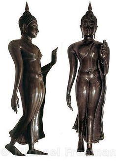 The only walking Buddha. Buddha Sculpture, Sculpture Art, Sculptures, Culture Of Thailand, Standing Buddha Statue, Art Thai, Buddha's Hand, Buddha Art, Buddhism