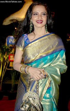 Rekha in saree Indian Bridal Fashion, Indian Bridal Wear, Indian Wear, Indian Silk Sarees, Pure Silk Sarees, Kanchipuram Saree, Banarasi Sarees, Indian Dresses, Indian Outfits