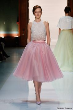 georges hobeika couture spring 2014 pale pink tea length skirt beaded top