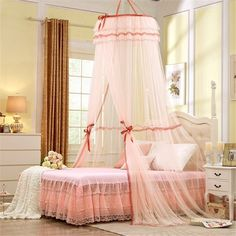 Round Hoop Princess Pastoral Lace Bed Canopy Mosquito Net Fit Crib Twin Full Queen Yellow