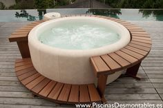 hot tub deck Full Northwestern Cedar surround deck is the perfect addition to your backyard Softub! Available on our website or visit our Kent, WA showroom. Hot Tub Gazebo, Hot Tub Deck, Hot Tub Backyard, Hot Tub Garden, Hot Tub Surround, Round Hot Tub, Jacuzzi Outdoor, Portable Spa, Gardens
