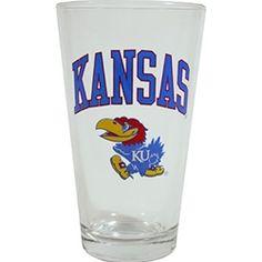 Kansas Jayhawk pint glass