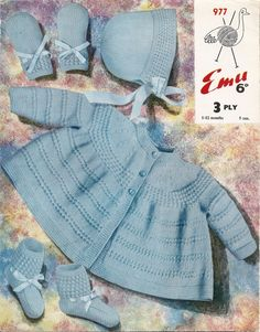 A pdf copy of a vintage knitting pattern to make a babys set including a coat, bonnet, bootees and mittens. From Emu leaflet No. 977. In two sizes to fit babies from 1-6 and 6-12 months. In Emu baby wool 3 ply or a modern equivalent. This vintage pattern is in UK terminology and English language, I provide a UK/USA conversion chart with your purchase.  This listing is for a PDF copy of the above vintage knitting pattern, not the actual pattern, or the dress. You will receive an instant…