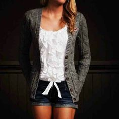 Grey Knit Cardigan. Denim Shorts. Teen Fashion.