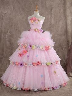 カラードレス プリンセスライン 2WAY 取り外し可能なスカート ピンク お花ドレス JUL014003