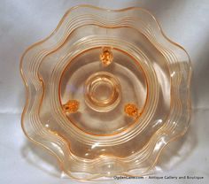 Scalloped Peach Ribbed & Footed Depression Glass Bowl by ogdenlane, $25.00