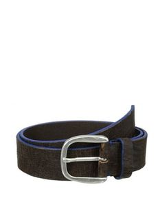 71% OFF Bolliver Men's Painted Cracked Belt (Blue/Brown)