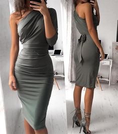 Sexy One Shoulder Bandage Dress #dress #dresses #bodycondress Workout Accessories, Pencil Skirt Dress, Dress Skirt, Pencil Skirts, Bodycon Dress, Cute Dresses, Sexy Dresses, Sexy Outfits, Fashion Outfits