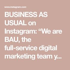 """BUSINESS AS USUAL on Instagram: """"We are BAU, the full-service digital marketing team you need to make your business stand out. Driving awareness to your company one click…"""" Digital Marketing, Make It Yourself, Math Equations, Business, How To Make, Instagram, Store, Business Illustration"""