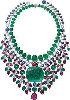 "CARTIER. ""Rajasthan"" Necklace - platinum, one 136.97-carat carved antique cushion-shaped emerald from Colombia, forty-six melon cut emerald beads from Afghanistan totaling 343.68 carats, one 22.61-carat carved pear-shaped ruby, carved rubies, sapphires and emeralds, sapphire beads, one melon cut sapphire bead, kite-shaped diamonds, brilliant-cut diamonds. The necklace can be worn in three different ways and as a brooch."
