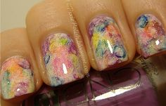 Lisa Frank-esque nails. Similar to the grunge technique but more watercolory!