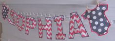 Pink Chevron Fabric Banner with Gray and White Dot Onesies for Baby Shower and/or Room Decoration with SEVEN Letters ONLY on Etsy, $28.00
