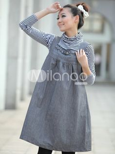 $38.99 Quality Gray 80% Cotton 20% Polyester Jean Summer Tanktop Maternity Dress | Wholesale Fashion Maternity Clothes
