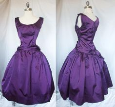 Vintage 1950s Purple Amethyst Silk Satin Sleeveless Cocktail Party Prom Dress / Evening Gown with Full Skirt