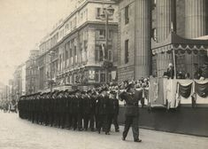 New Garda recruits march past the GPO, during Án Tóstal celebrations of On the daïs is President Seán T. Dublin Ireland, Old Photos, Celebrations, Past, Police, March, Street View, Times, History