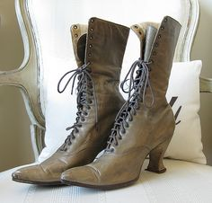 Pair of Taupe Leather Victorian Lace-Up Boots