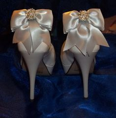 Satin Bow Shoe Clips  set of 2  with sparkling by ShoeClipsOnly, $38.00