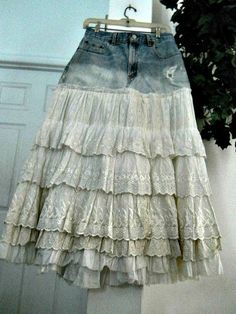 Levis high waisted vintage lace ballroom jean skirt ruffled tiered Renaissance Denim Couture Belle Bohémienne Made to Order Diy Jeans, Recycle Jeans, Jeans Denim, Denim Vintage, Vintage Lace, Denim And Lace, Sewing Clothes, Diy Clothes, Mode Jeans