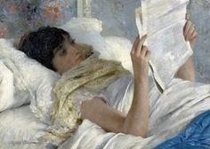 Gabriel Ferrier (France, 1847-1914) – Femme au lit, lisant le journal, date inconnue